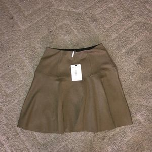 NWT free people olive green skater skirt size Xs